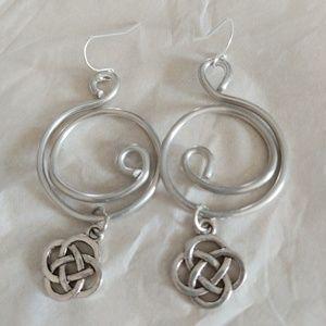 Silver spiral Celtic earrings